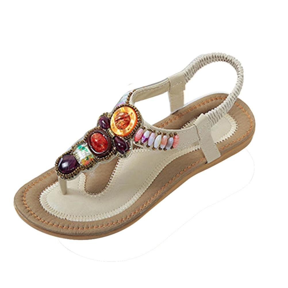 Summer Flip-Flops Shoes, Tenworld Women Bohemia Beach Beaded Flat Sandals