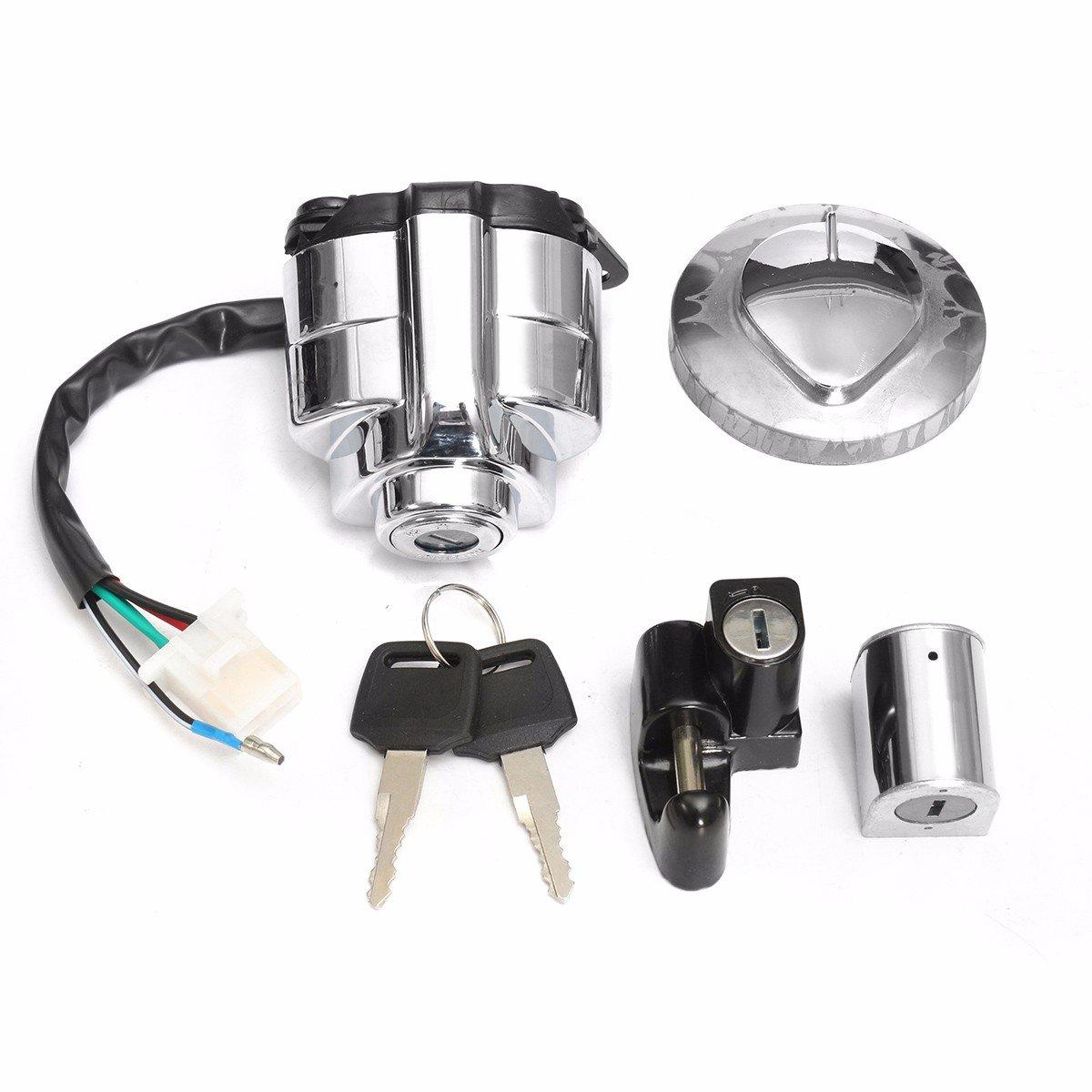 Alamor Tappo Gas Di Accensione Casco Anello In Acciaio Set Per Honda Shadow Vlx Vt 400 600 750