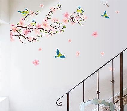 Home & Garden Original % Flower Sakura Wall Stickers Tree Branch Peach Blossom Birds Wall Stickers Kids Room Bedroom Living Room Mural Home Decoration