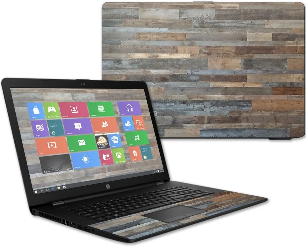 """MightySkins Skin Compatible with HP 17t Laptop 17.3"""" (2017) - Gray Wood   Protective, Durable, and Unique Vinyl Decal wrap Cover   Easy to Apply, Remove, and Change Styles   Made in The USA"""