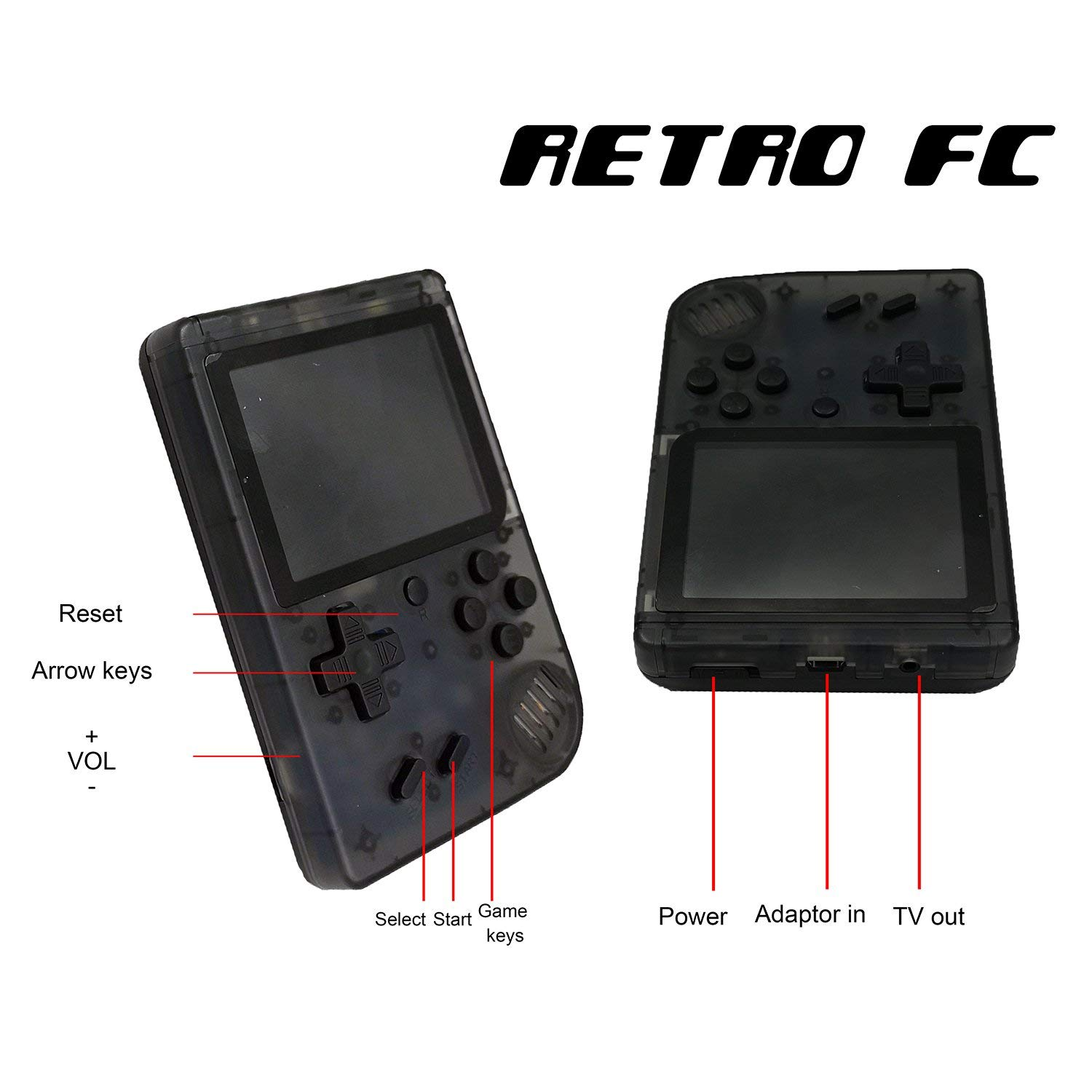 FLYFISH Retro Handheld Game Console,Portable FC Game Console 3 Inch 168 Classic Games , Birthday Present for Children -Transparent Black by FLYFISH (Image #2)