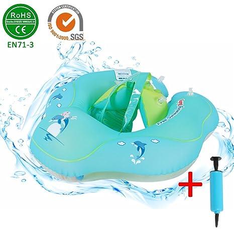 Flotador hinchable para bebé, con respaldo y correa para la cintura de los niños,