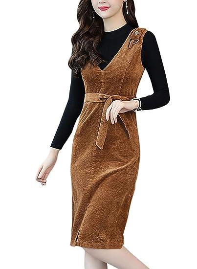 a1f4b69946 Women s Slim Fit V-Neck Corduroy Pinafore Overall Dress Waist Belt (Camel