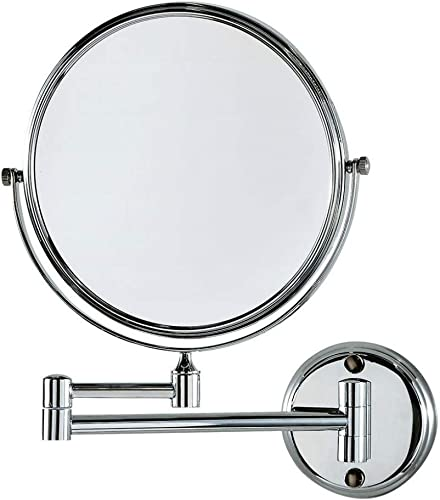 crw 10x Magnifying Makeup Mirrors Wall Mount Two Sided Bathroom Magnification Vanity Mirror Flexible, 360 Degree Swivel, 8 Inch, Chrome