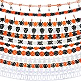 Jetec 9 Pieces Halloween Paper Chain Garland Banners Decoration, Ghost Bat Spider Web Skull Witch Pumpkin Paper Garlands (9 Styles)