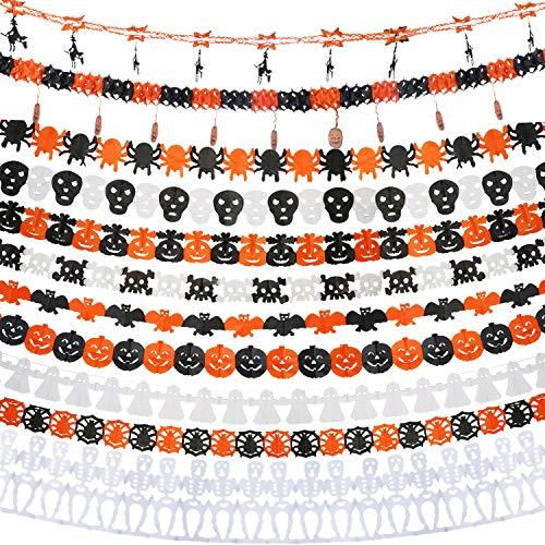 Halloween Tissue Paper Garland (Jetec 9 Pieces Halloween Paper Chain Garland Banners Decoration, Ghost Bat Spider Web Skull Witch Pumpkin Paper Garlands (9)