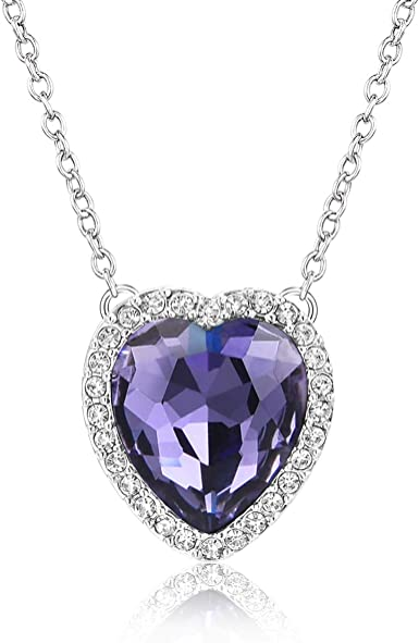 Perfect Christmas Gift Gemstone and Crystal Silver Tone Necklace in 4 Colours