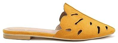 63f181659e2a Beast Fashion Maisy-01 Pointy Toe Slip On Laser Cut Leaf Shape Flat Sandal (