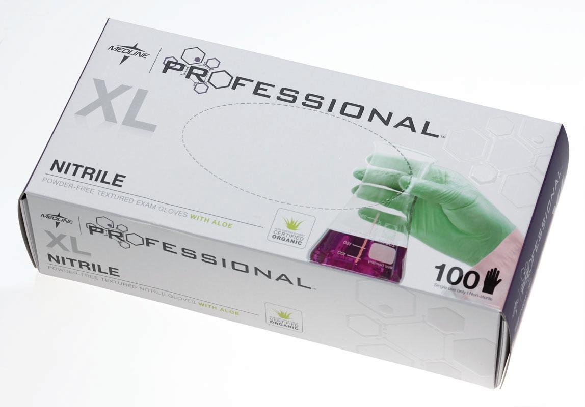 Medline PRO31764 Professional Exam Gloves with Aloe, Nitrile, Latex Free, X-Large, 9.5'' Length, Green (Pack of 1000)