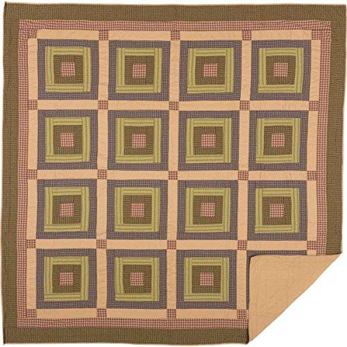(VHC Brands Rustic & Lodge Bedding Tea Cabin Block Quilt, Queen, Green)
