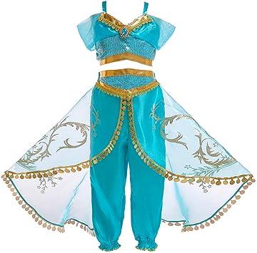 OwlFay Disfraz Aladdin Niña Vestidos de Princesa Jazmín Tops ...