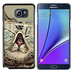 KLONGSHOP // Cubierta de piel con cierre a presión Shell trasero duro de goma Protección Caso - Gato Gafas Slpeeping divertido del arte del retrato - Samsung Galaxy Note 5 5th N9200 //
