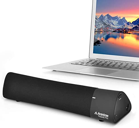 Avantree Torpedo Plus Portable aptX Low Latency Bluetooth External Speaker for Laptop, MacBook, Desktop PC Computer, DSP Three Sound Modes Wireless Mini TV Soundbar for Seniors, No Audio Delay