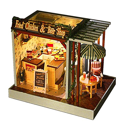 Rylai Wooden Handmade Dollhouse Miniature DIY Kit – Fried Chicken  Beer Shop Series Wooden Dollhouses with Furniture/Parts Furniture X'mas Gift(1:24…