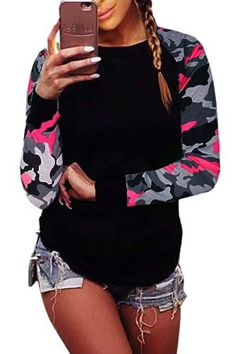 La Mujer Casual Cuello Redondo Scoop Camuflaje Sudaderas Con Capucha Sudaderas Blusas Tops