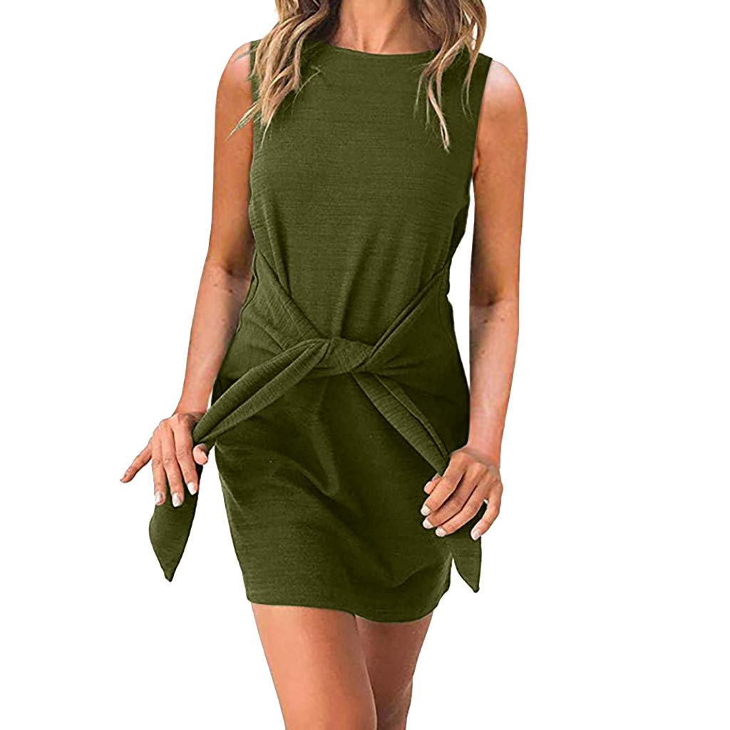 COOKI Women Dresses Casual Crewneck Sleeveless Tie Knot Front Bandage Dress Summer Tunic Pencil Party Mini Dress Green