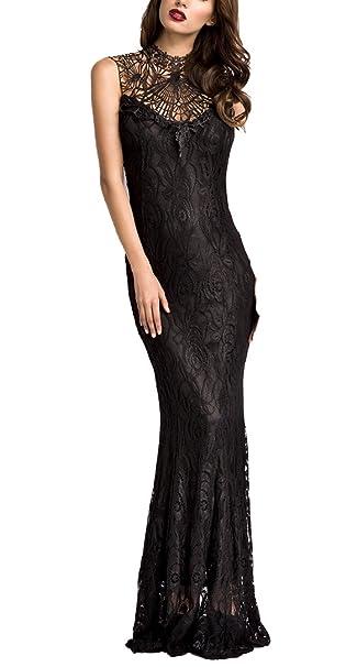 Unbekannt Langes Schwarzes Abendkleid Mit Spitze Hochgeschlossen Und
