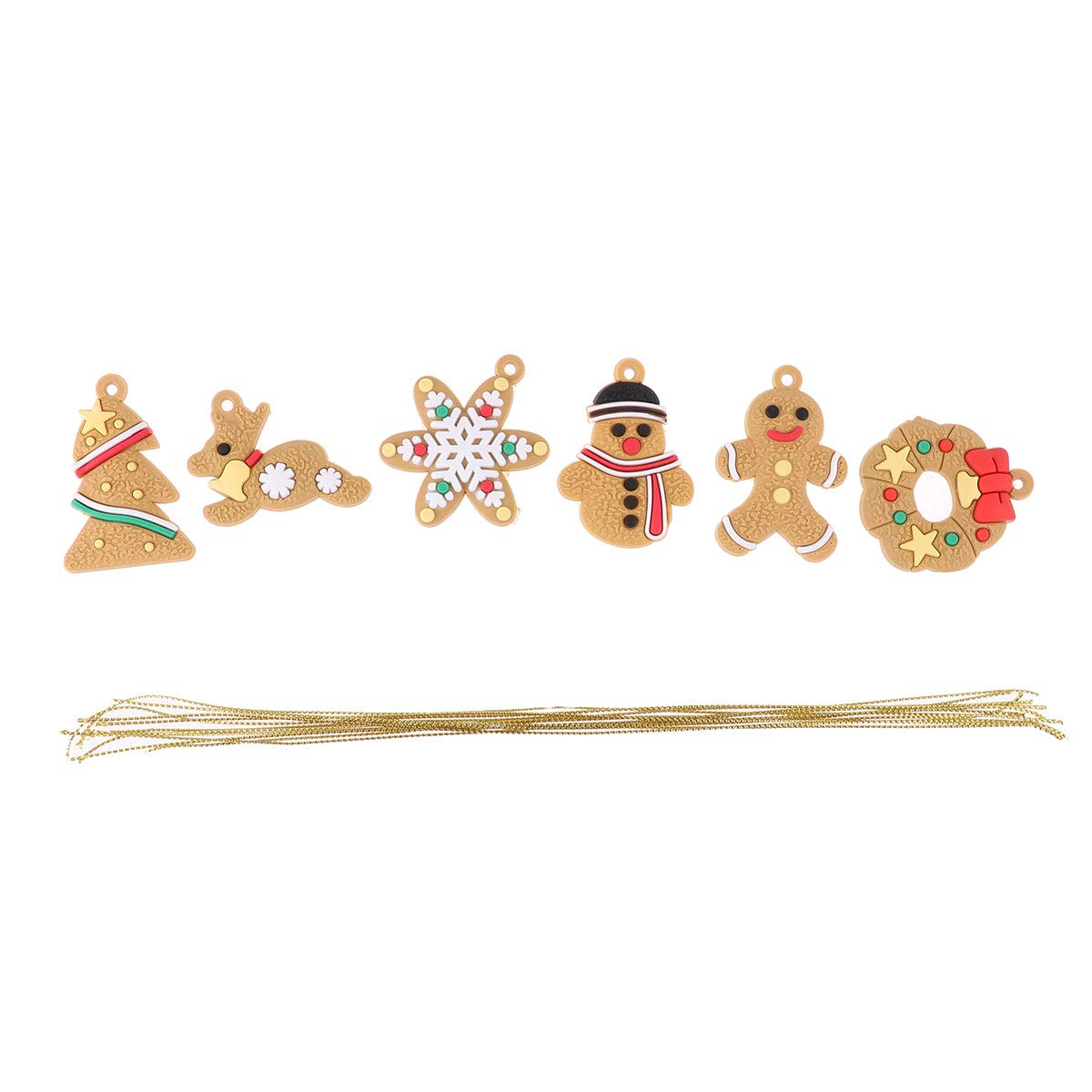 IEFIEL Traditional Gingerbread Clay Figurine Ornaments Gingerman Hanging Charms Christmas Tree Ornaments B One Size