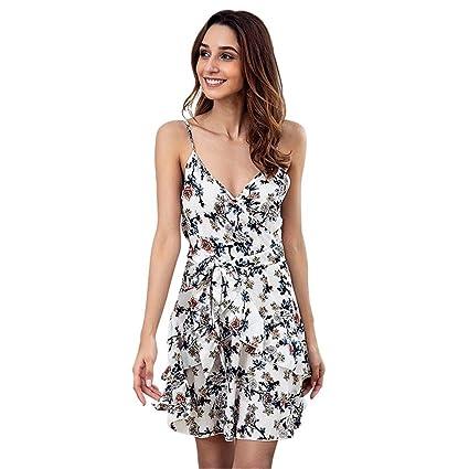 b3a7eeaeac Women Spaghetti Strap Sleeveless Casual Short Dress Summer Beach Dress  Floral Print Dress Cross Deep V