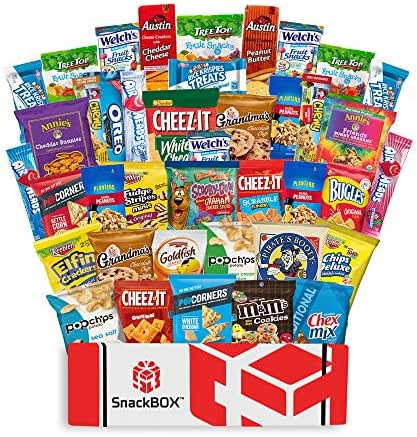 Care Package Snacks for College Students, Finals, Office, Father's Day, Deployment, Military and Gift Ideas - Including Over 3 lbs of Chips, Cookies and Candy! (40 Count)