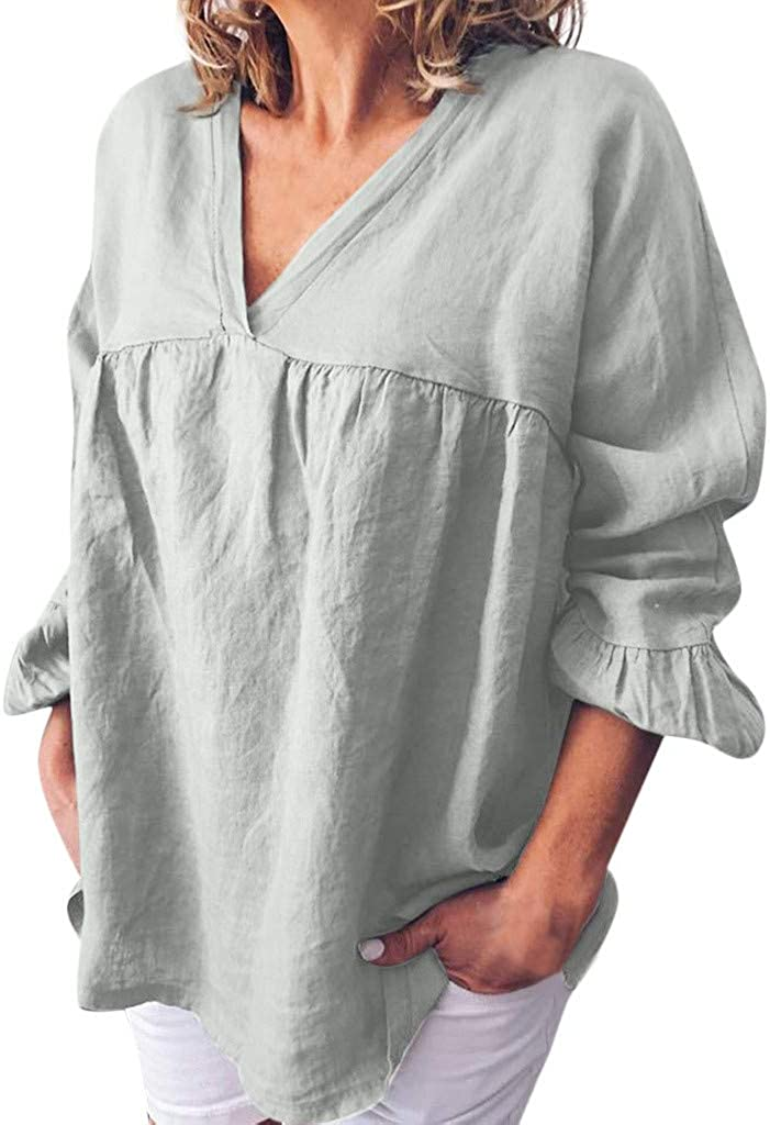 Womens Summer Tops Plus Size Shirts for Women 2//3 Ruffle Sleeve Cotton-Linen V Neck Casual Tunic T-Shirts Blouse Tops