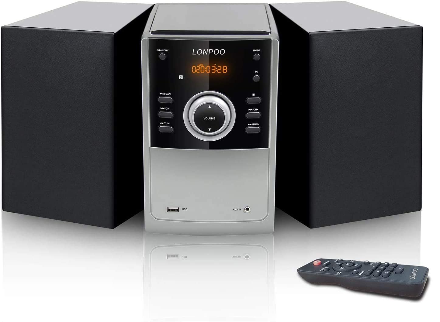 LONPOO Micro CD Player,Home Stereo System 30W Mini Hi-Fi Stereo with Bluetooth, USB, FM Radio, MP3, CD-R/CD-RW, Aux, CD Playback, Remote Control, Home Audio (Noir)