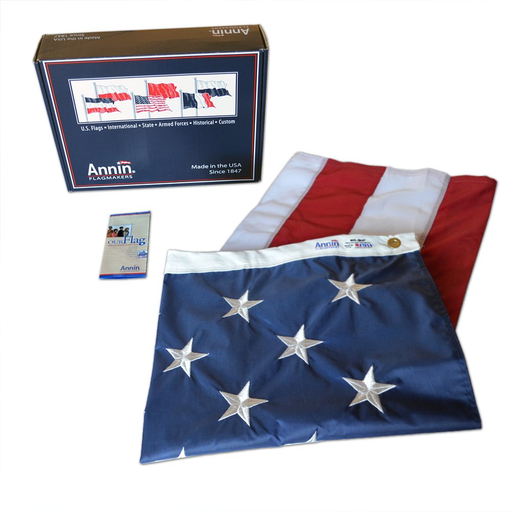 Annin Flagmakers Model 2300 American Flag 6x10 ft. Nylon SolarGuard Nyl-Glo, 100% Made in USA with Sewn Stripes, Embroidered Stars and Brass Grommets.