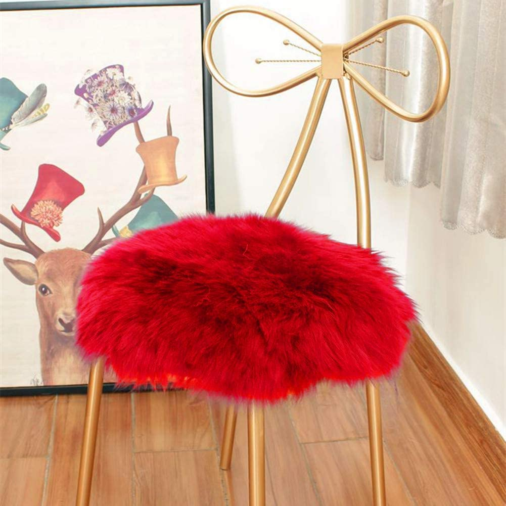 Eanpet Faux Sheepskin Chair Pad Round Cover Seat Cushion Pad Soft Fluffy Area Rug for Area Rugs for Chair Seat Pad Couch Pad Area Natural Rugs Red 1.5x1.5FT