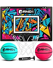 """AND1 Mini Basketball Hoop: 18""""x12"""" Pre-Assembled Portable Over The Door with Flex Rim, Includes Two Deflated 5"""" Mini Basketball with Pump, for Indoor"""
