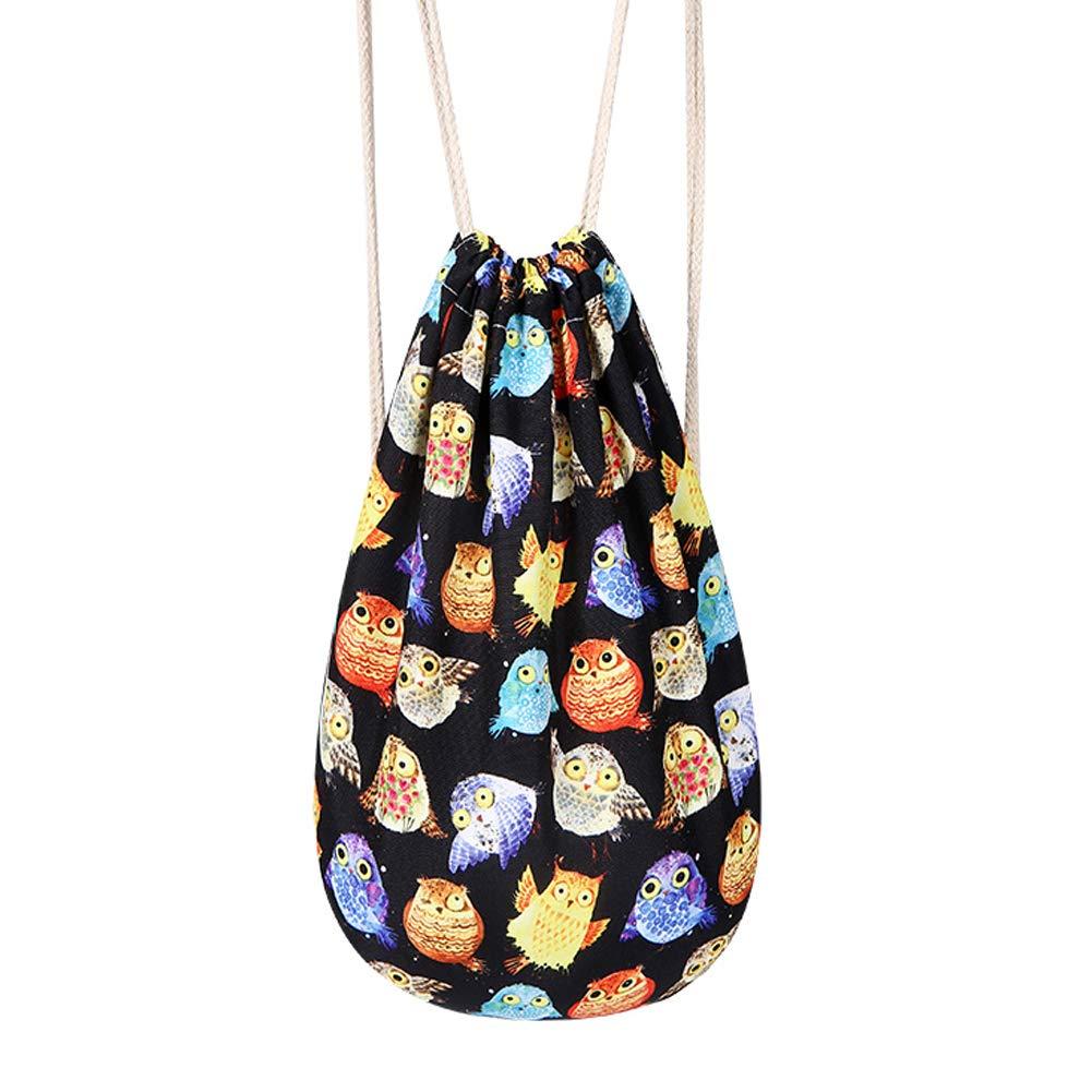 Gracelife Cute Animal Design Drawstring Bag Cartoon Owl Style Shoulder String Bag 3D Skull Print Drawstring Backpack Thin Daily Gym Bag (Black)