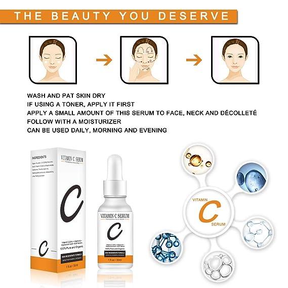 Beileer Suero Facial Orgánico Vitamina C y Ácido Hialurónico Puro ...