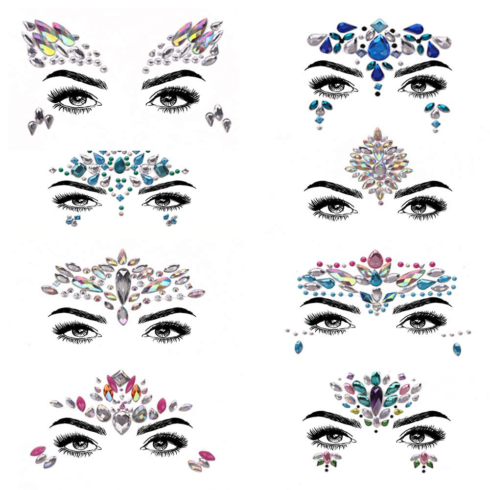 Face Gems Autocollants, Muti-set Femmes Sirène Rave Festival Glitter, Strass Tatouage Temporaire Visage Bijoux Cristaux Sourcils Corps Bijoux (6 ensemble) YuJun's