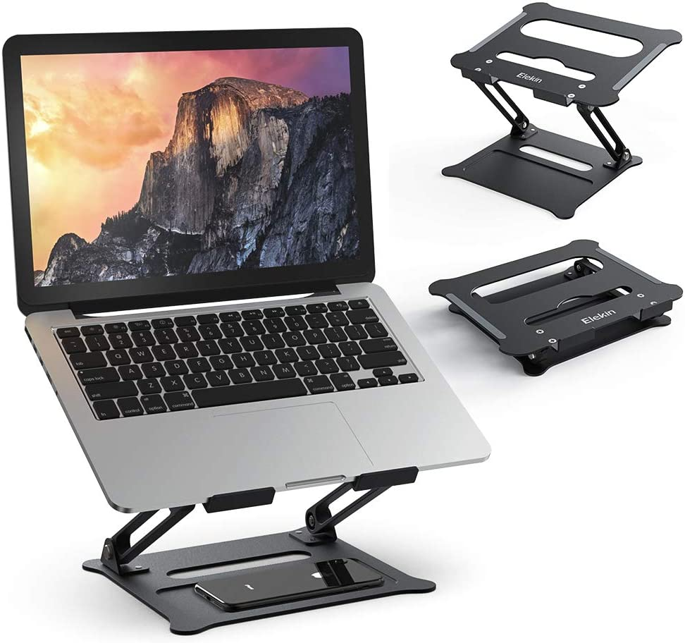 Laptop Notebook Stand,Elekin Foldable Laptop Stands Adjustable Notebook Holder Aluminum Laptop Riser Ergonomic Desktop Holder for Tablets, ipad, Notebook, MacBook Up tp 17''(Black)