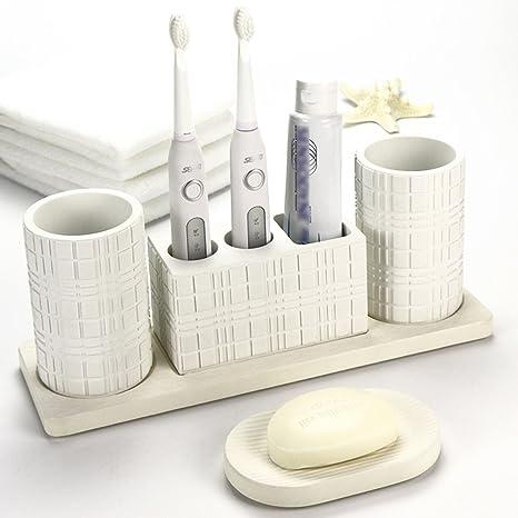 PLYY Soporte de Cepillo de Dientes Eléctrico de Resina Taza de Pincel Taza de Baño Baño