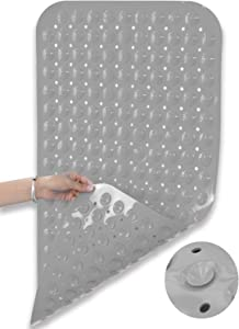 Huryfox Non-Slip Bath Mat for Tub and Shower, Baby Bathtub mats Anti-Skid Bathroom Accessories Pad with Suction Cups and Drain Holes for Kids (Grey,15.7''x31.5'')