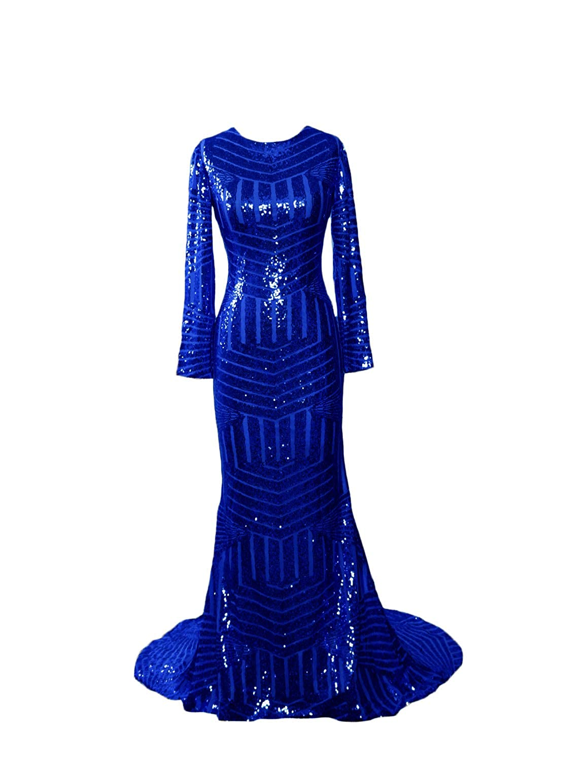 Royal D CIRCLEWLD Sequins Mermaid Evening Gowns Long Sleeves Sleeveless for Women Wedding Party E122