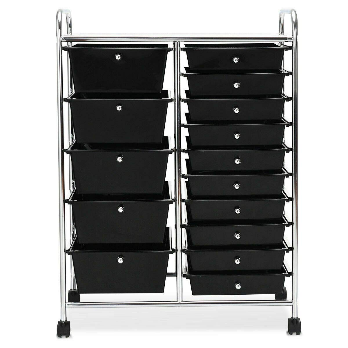 Heize best price Black Rolling Storage Cart 15 Drawer Organizer Cart Utility Storage Tools Scrapbook Paper Multi-Use Office Trolley(U.S. Stock)