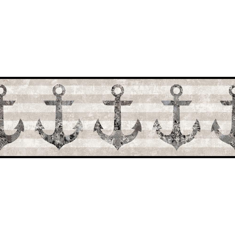 York Wallcoverings NY4908BD Nautical Living Anchors Away Border, Cream/Beige/Ecru/Taupe/Dark Grey/Black/Silver Streak