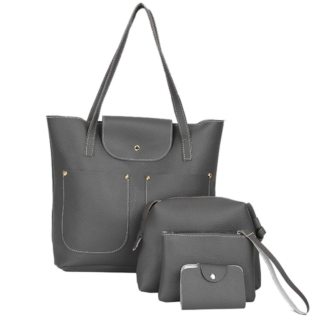 Pocciol Hot Sale Handbag for Women PU Leather Shoulder Bags Tote Satchel 4pcs Purse Set (Style-Dark Gray)