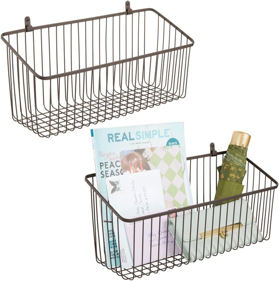 mDesign Portable Metal Farmhouse Wall Decor Angled Storage Organizer Basket Bin for Hanging in Entryway, Mudroom, Bedroom, Bathroom, Laundry Room - Wall Mount Hooks Included, Large - 2 Pack - Bronze