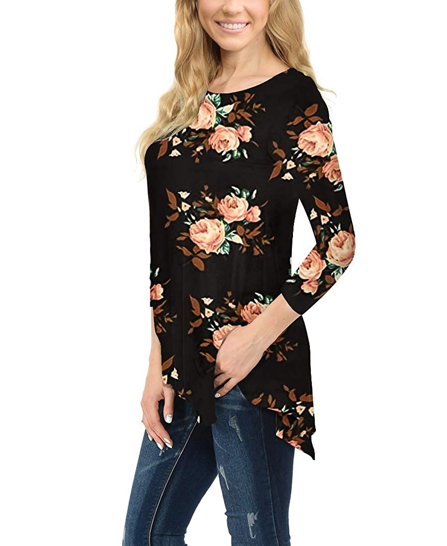 cd2001f2fd7a MIROL Women's Spring Floral Print 3/4 Sleeve Irregular Hem Asymmetrical  Tunic Loose Long Blouse Tops at Amazon Women's Clothing store: