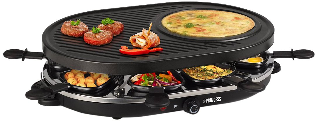 Princess 01.162700.01.001 Raclette 8 Oval Grill Party, Nero Tristar