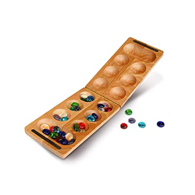 WE Games Folding Mancala with Solid Wood Board & Glass Stones - 18 in.: Toys & Games