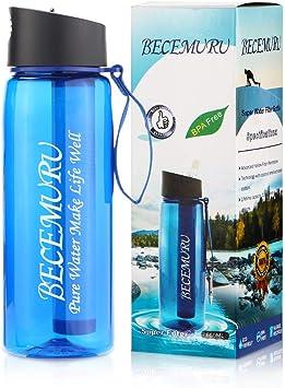 BECEMURU Botella de Filtro de Agua, Botella de Agua con Filtro de ...