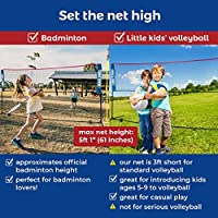 Boulder Portable Badminton Net Set - Net for Tennis, Soccer Tennis, Pickleball, Kids Volleyball - Easy Setup Nylon Sports Net with Poles - For Indoor or Outdoor Court, Beach, Driveway by BOULDER