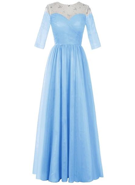 Bbonlinedress Vestido Fiesta Nochevieja Madrina Boda Largo Tul Mangas Tres Cuartos Azul 32