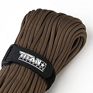 """TITAN WarriorCord   103 FEET, 620 LB. TENSILE STRENGTH   Exceeds MIL-SPEC, Type III 550 Paracord Standards. 7 Strand, 5/32"""" Diameter, 100% Nylon Military Parachute Cord, with Paracord eBooks."""