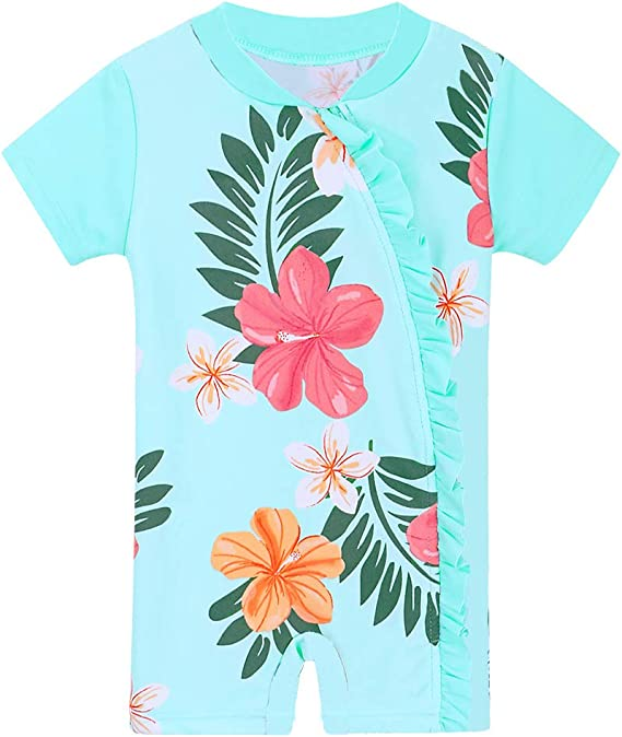 HUANQIUE Baby//Toddler Girl Swimsuit Rashguard Swimwear Long Sleeve One-Piece