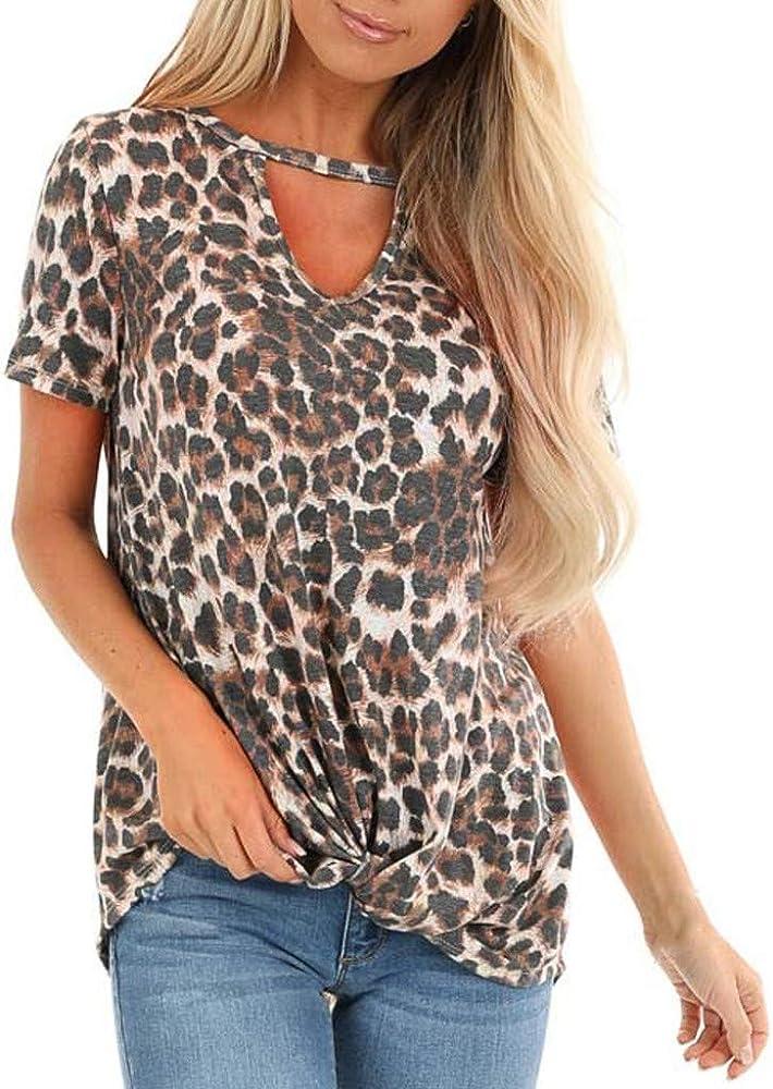 Warmword Camisetas Moda Mujer Casual Estampado de Leopardo de Manga Corta con Cuello en v Tops Blusa Casual Camiseta Blusa Suelta Túnica Tops Elegantes: Amazon.es: Ropa y accesorios