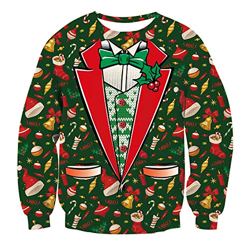 (RAISEVERN Unisex Ugly Christmas Fake Two-Pieces Sweater Christmas Hats Boots Crewneck Hispter Pullover Sweatshirt)